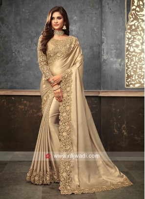 Golden Cream Saree with Cut Work Border