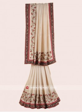 Golden Cream Saree with Designer Border