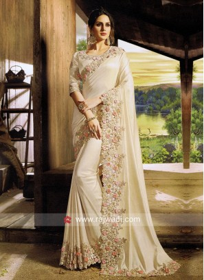 Golden Cream Saree with Embroidered Border
