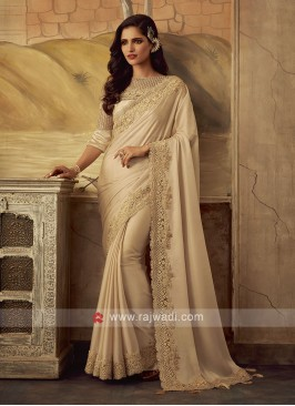Golden Cream Saree with Embroidery Border