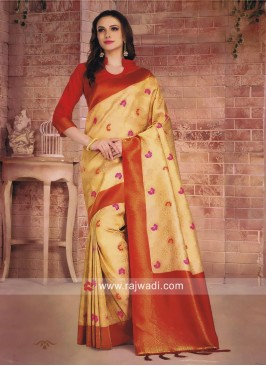 Golden Cream Saree with Red Blouse