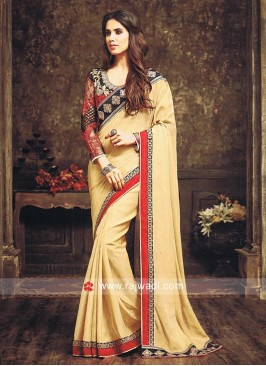 Golden Cream Sari with Black Heavy Blouse