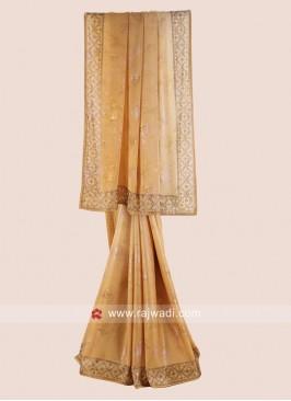 Golden Cream Shaded Wedding Saree