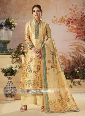 Golden Cream Silk Palazzo Suit