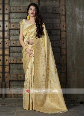 Golden Cream Silk Saree