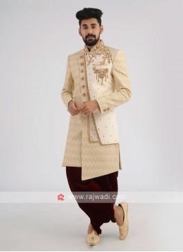 Golden Cream Silk Wedding Sherwani