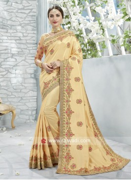 Golden Cream Stone and Zari Work Saree