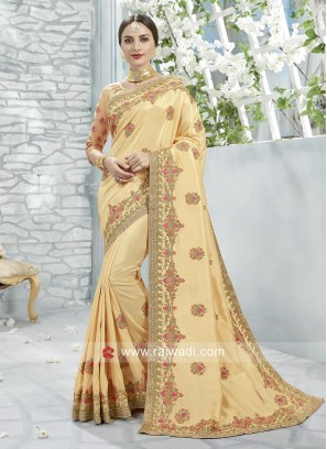 Golden Cream Stone and Zari Work Saree