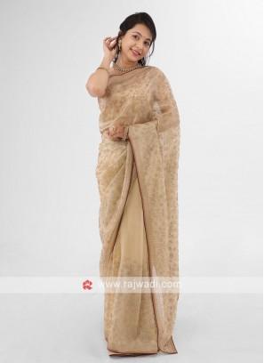 Golden Cream Stone Work Shimmer Net Sarees