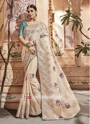 Golden Cream Tissue Silk Saree