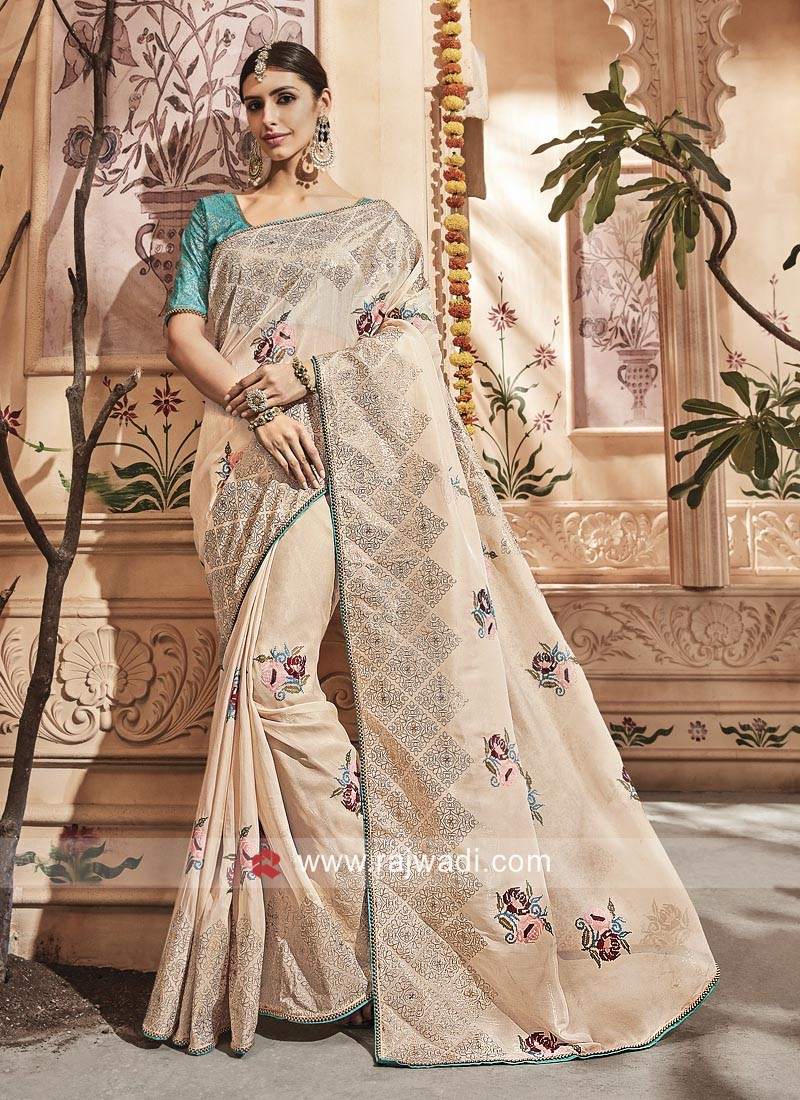 Golden Cream Tissue Silk Saree