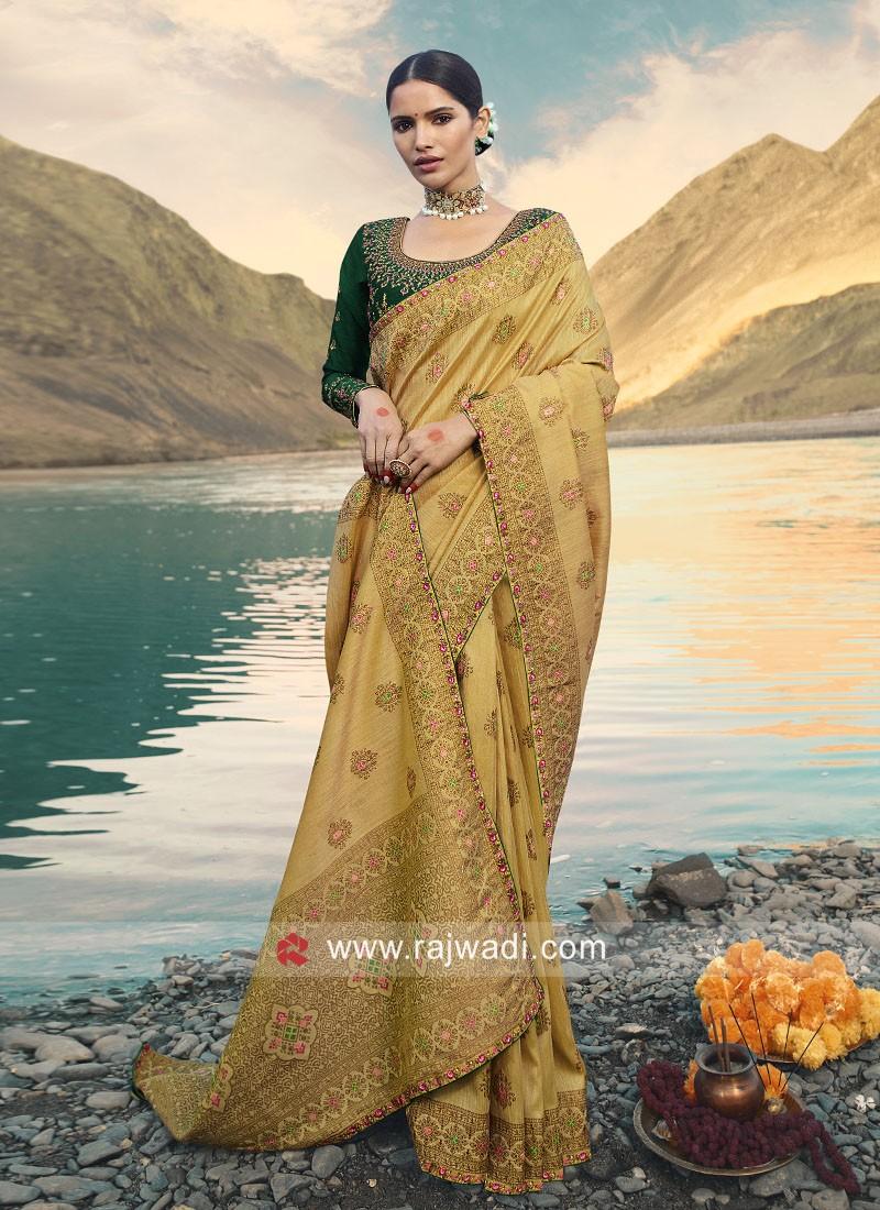 Golden Cream Wedding Saree