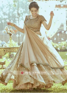 Golden Designer Lehenga Set in Net