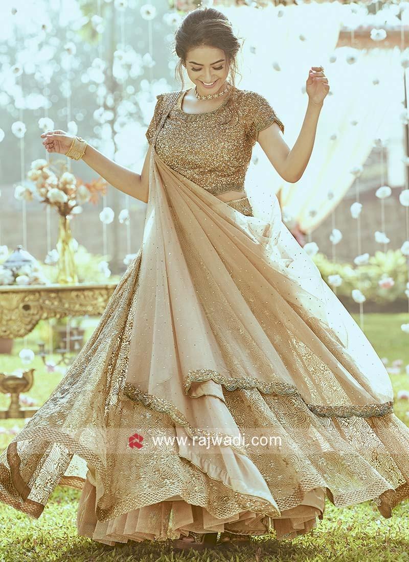 Golden Designer Lehenga Set in Net