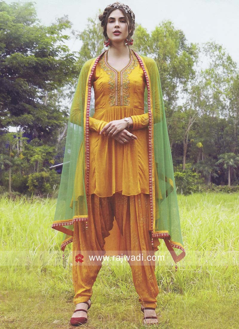 Golden Dhoti Style Suit with Green Dupatta