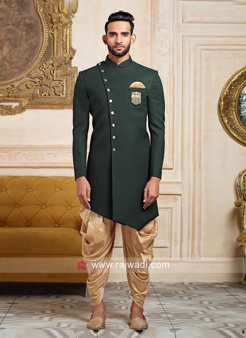 Green Jute Silk Indo Western
