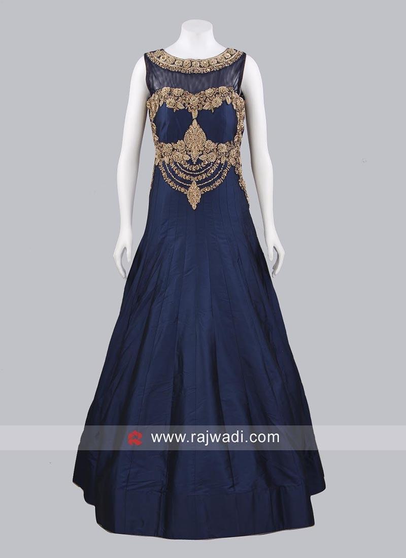 Golden Embroidered Designer Gown