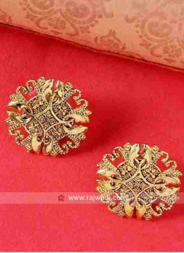 Golden Floral Shaped Stud Earrings