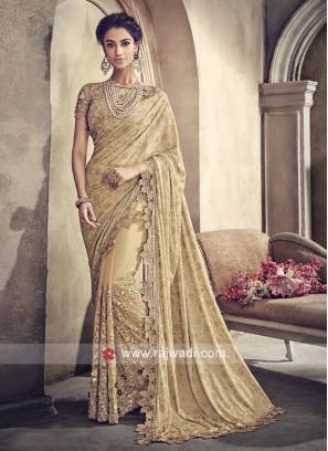 Golden Flower Work Saree with Blouse
