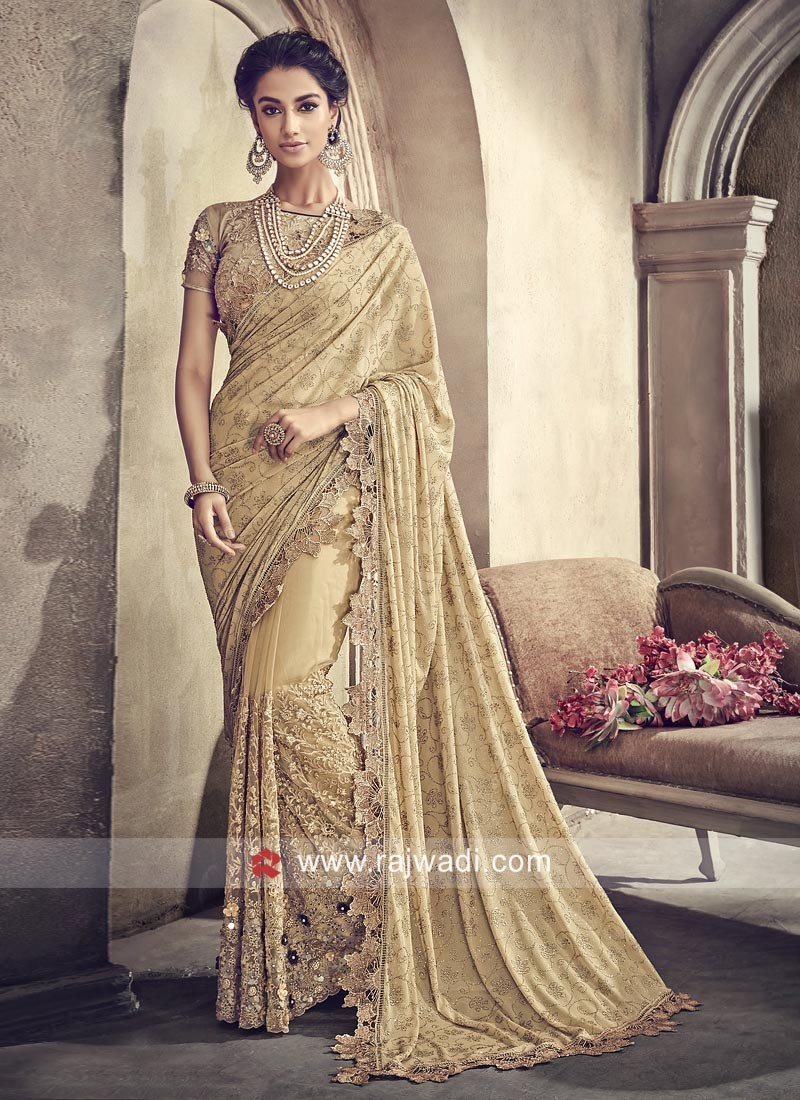 f5925c82dc1 Golden Flower Work Saree with Blouse