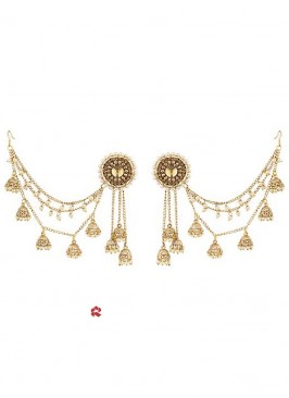 Golden Hanging Jhumki Earrings