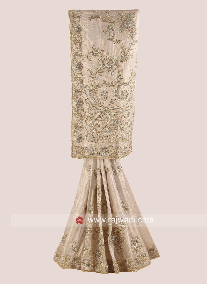 Golden Heavy Embroidered Saree