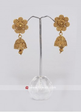 Golden Jhumkha Earrings
