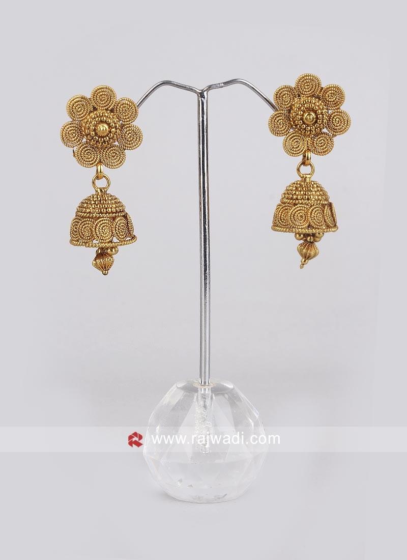 Golden Jhumkha Earrings