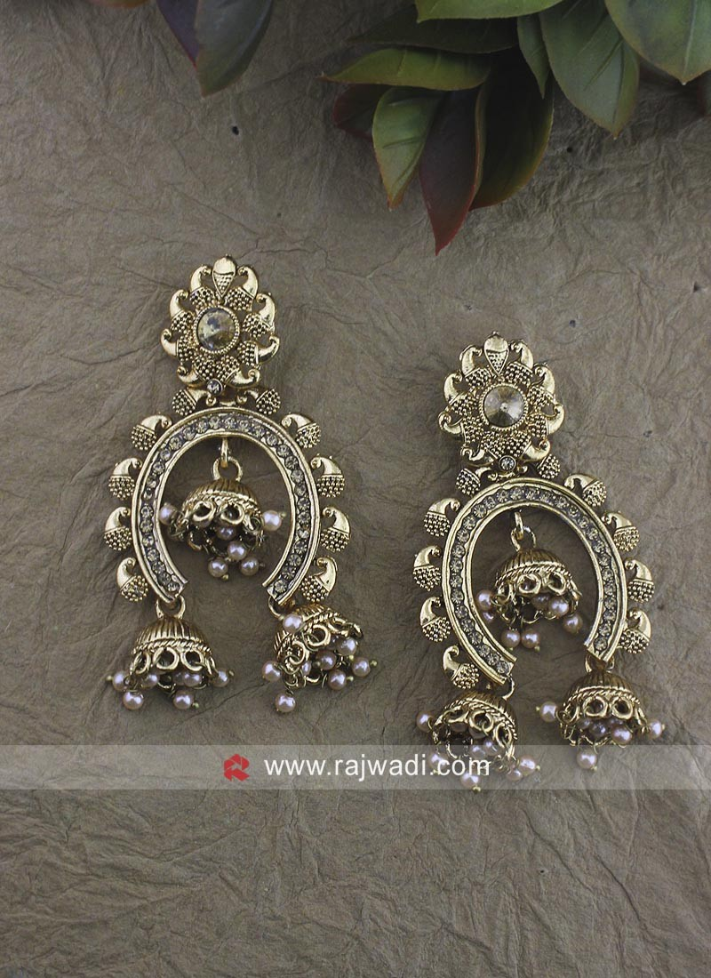Golden Jhumki Earrings