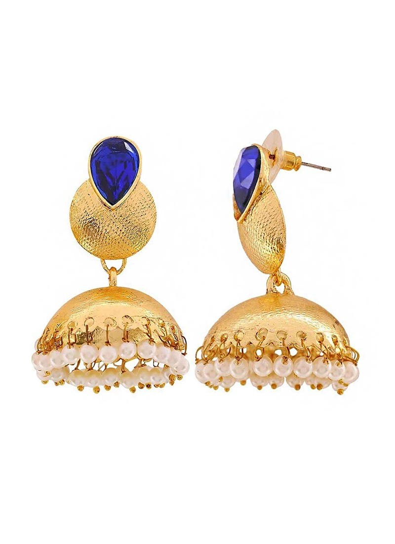 Golden Jhumki Earrings with Blue Stone