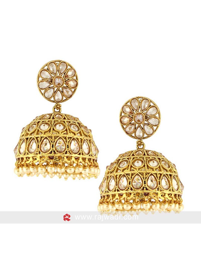 Golden Jhumki Earrings with Push Closure