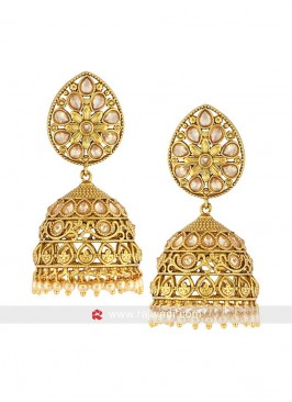 Golden Leaf Jhumka Earrings