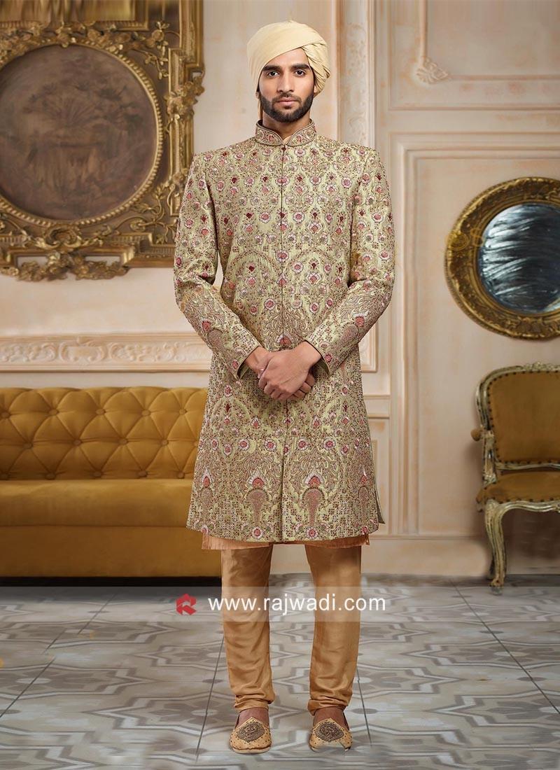 Designer Light Green Wedding Sherwani