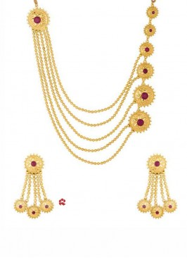 Golden Multilayered Necklace Set with Earrings
