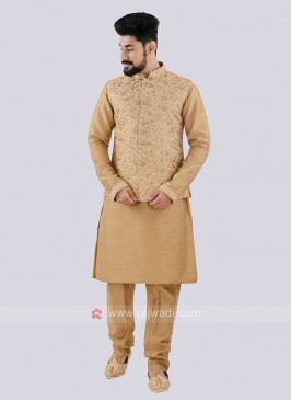 Golden Nehru Jacket Suit For Men