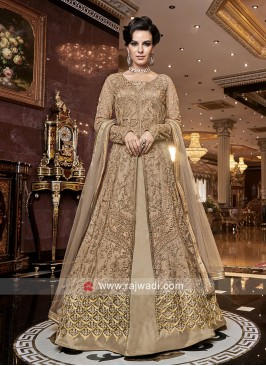 Golden Net Front Open Slit Salwar Kameez
