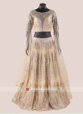 Golden Net Glitter Lehenga Choli