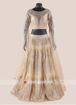 Golden Net Glitter Lehenga Choli
