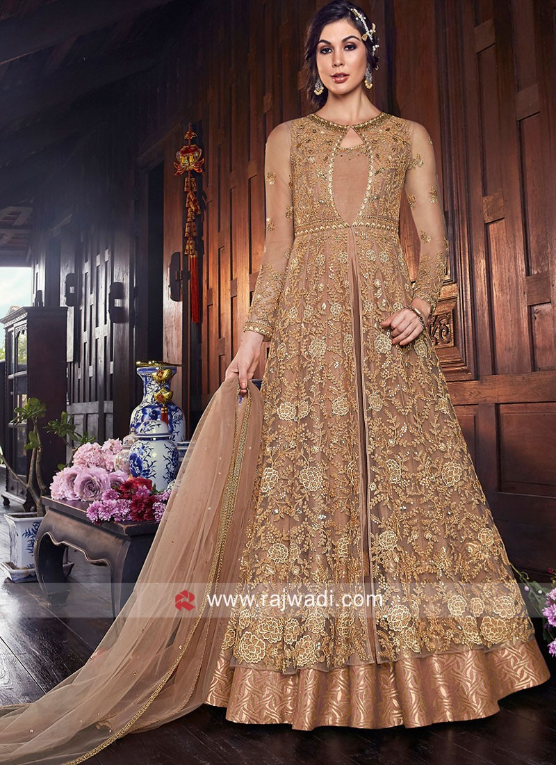 Golden Net Heavy Salwar Kameez
