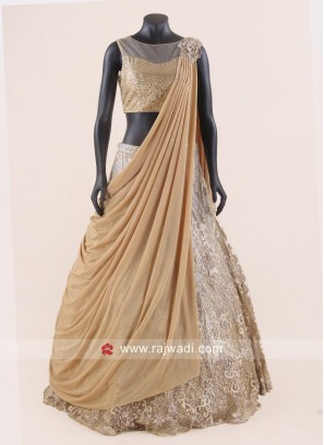 Net Lehenga Choli with Attached Drape Dupatta
