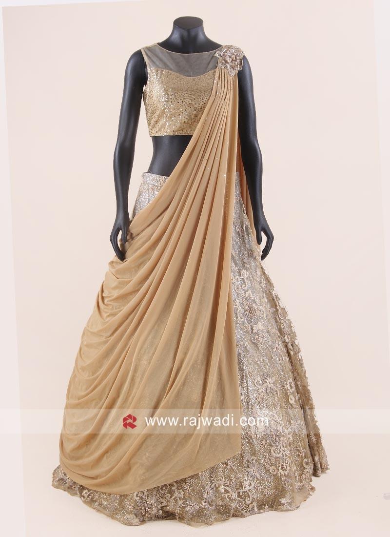 Net Lehenga Choli with Attached Drape Dupatta
