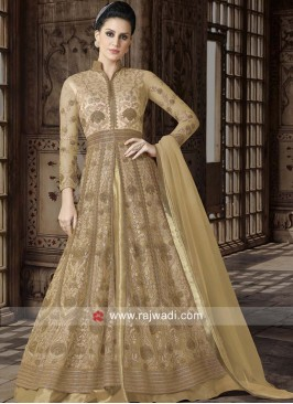 Golden Net Semi Stitched Suit
