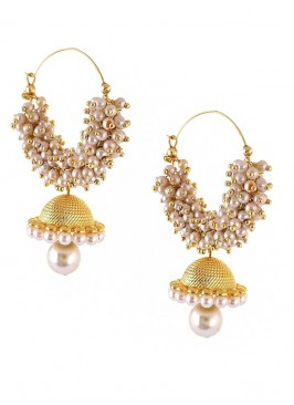 Golden Pearl Drop Jhumki Earrings