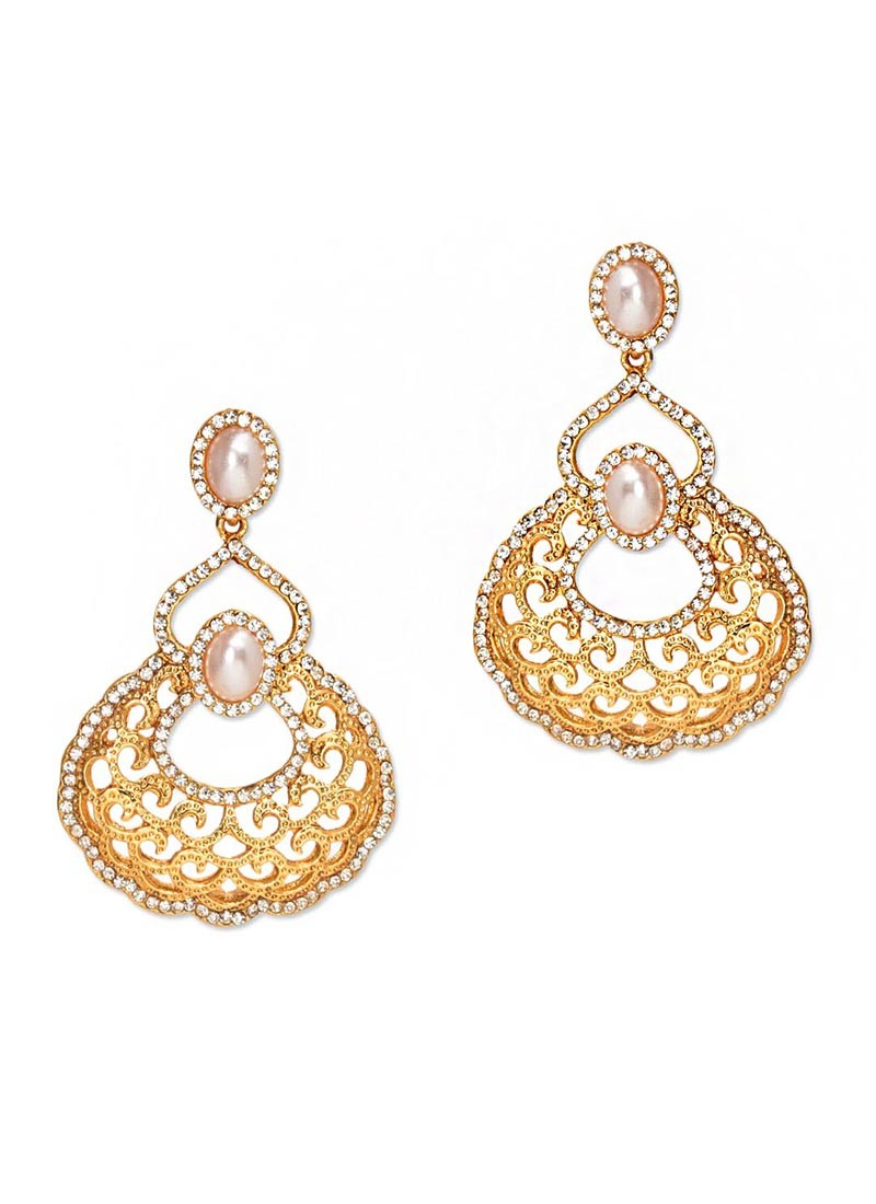 Golden Pearl Earrings for Womens