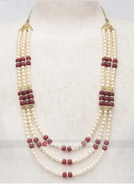 Golden Cream Pearl Work Mala For Mens