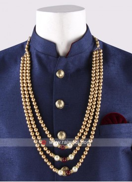 Golden Pearl Work Mala For Mens