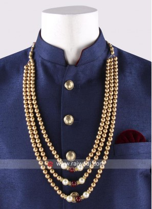 Golden Pearl Work Mala For Mens