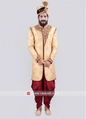Golden Rajwadi Style Indo Western Sherwani For Wedding