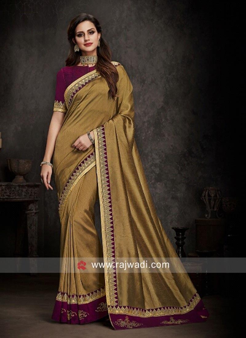Golden Raw Silk Saree