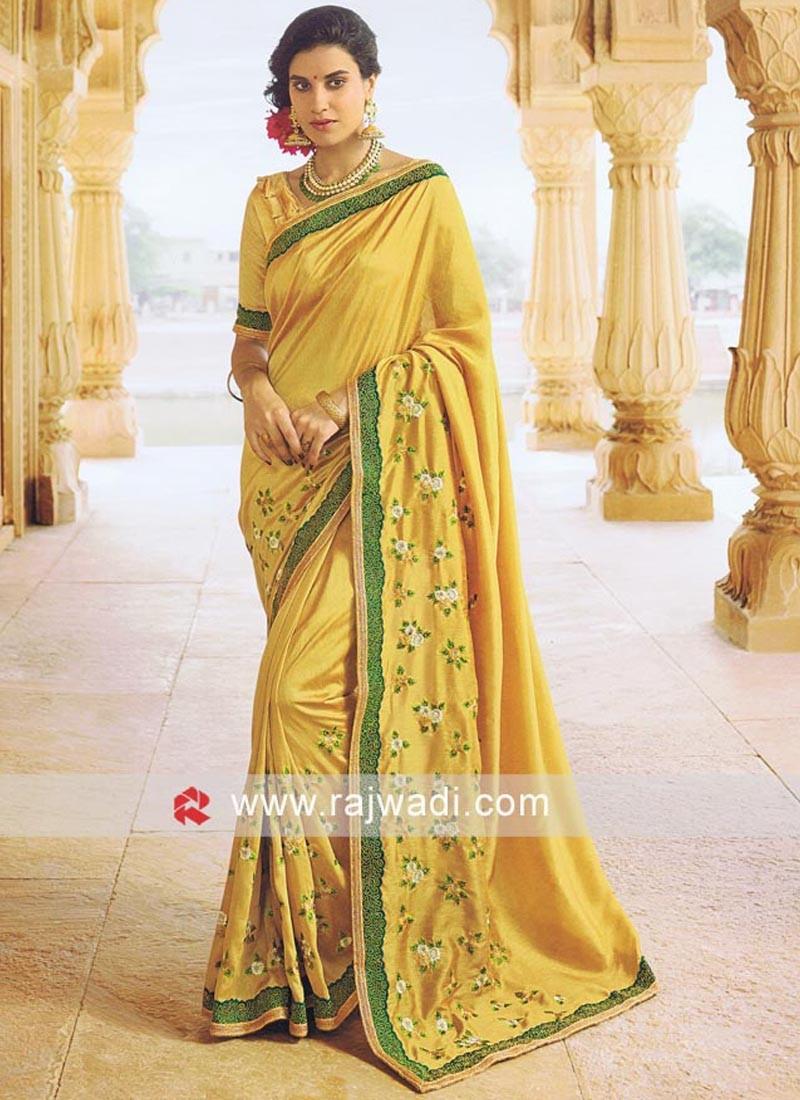 Golden Resham Work Saree